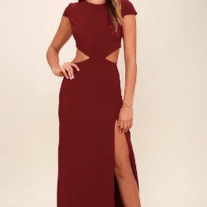 Wine Red Backless Maxi Dress